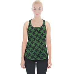 Houndstooth2 Black Marble & Green Leather Piece Up Tank Top