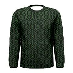 Hexagon1 Black Marble & Green Leather Men s Long Sleeve Tee