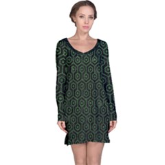 Hexagon1 Black Marble & Green Leather Long Sleeve Nightdress