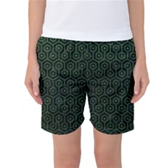 Hexagon1 Black Marble & Green Leather Women s Basketball Shorts