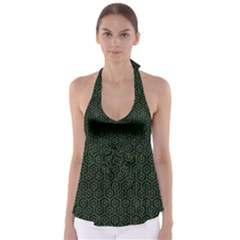 Hexagon1 Black Marble & Green Leather Babydoll Tankini Top