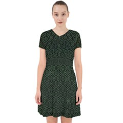Hexagon1 Black Marble & Green Leather Adorable In Chiffon Dress