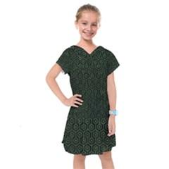 Hexagon1 Black Marble & Green Leather Kids  Drop Waist Dress