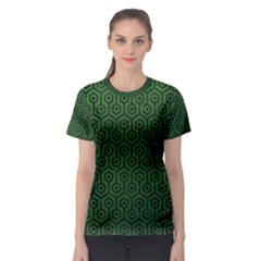 Hexagon1 Black Marble & Green Leather (r) Women s Sport Mesh Tee