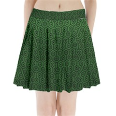 Hexagon1 Black Marble & Green Leather (r) Pleated Mini Skirt