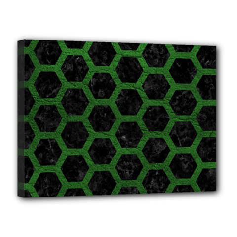 Hexagon2 Black Marble & Green Leather Canvas 16  X 12
