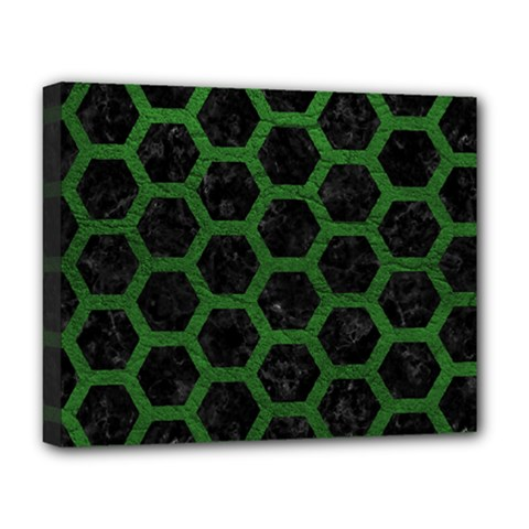 Hexagon2 Black Marble & Green Leather Deluxe Canvas 20  X 16