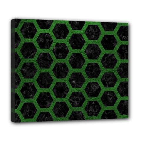 Hexagon2 Black Marble & Green Leather Deluxe Canvas 24  X 20