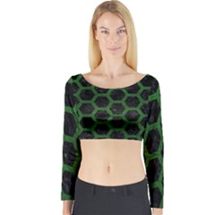 Hexagon2 Black Marble & Green Leather Long Sleeve Crop Top
