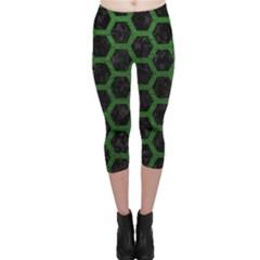 Hexagon2 Black Marble & Green Leather Capri Leggings