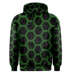 Hexagon2 Black Marble & Green Leather Men s Pullover Hoodie