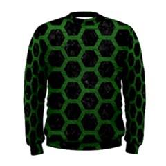 Hexagon2 Black Marble & Green Leather Men s Sweatshirt