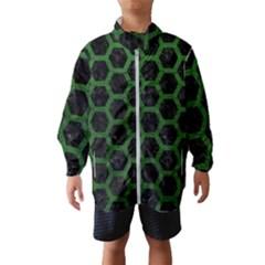Hexagon2 Black Marble & Green Leather Wind Breaker (kids)