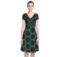 Hexagon2 Black Marble & Green Leather Short Sleeve Front Wrap Dress