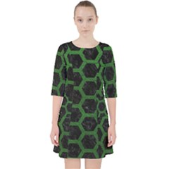 Hexagon2 Black Marble & Green Leather Pocket Dress