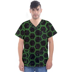 Hexagon2 Black Marble & Green Leather Men s V Neck Scrub Top