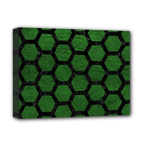 Hexagon2 Black Marble & Green Leather (r) Deluxe Canvas 16  X 12