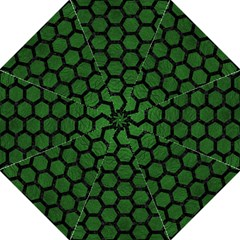Hexagon2 Black Marble & Green Leather (r) Golf Umbrellas