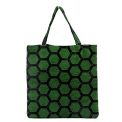 Hexagon2 Black Marble & Green Leather (r) Grocery Tote Bag