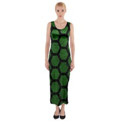 Hexagon2 Black Marble & Green Leather (r) Fitted Maxi Dress