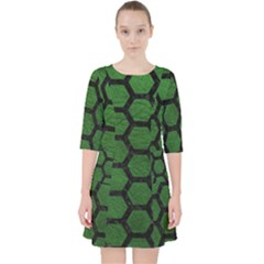 Hexagon2 Black Marble & Green Leather (r) Pocket Dress
