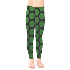 Hexagon2 Black Marble & Green Leather (r) Kids  Legging