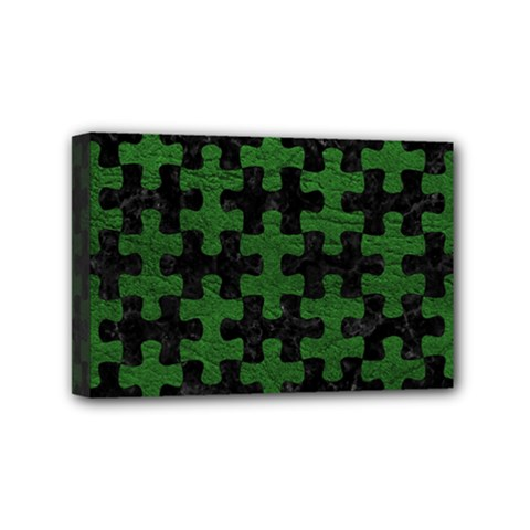 Puzzle1 Black Marble & Green Leather Mini Canvas 6  X 4