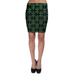 Puzzle1 Black Marble & Green Leather Bodycon Skirt