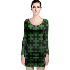 Puzzle1 Black Marble & Green Leather Long Sleeve Bodycon Dress