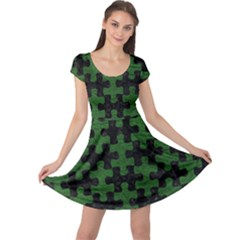 Puzzle1 Black Marble & Green Leather Cap Sleeve Dress