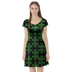 Puzzle1 Black Marble & Green Leather Short Sleeve Skater Dress