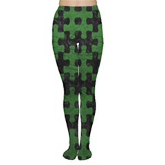 Puzzle1 Black Marble & Green Leather Women s Tights