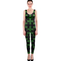 Puzzle1 Black Marble & Green Leather Onepiece Catsuit