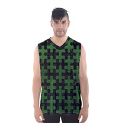 Puzzle1 Black Marble & Green Leather Men s Basketball Tank Top