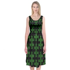 Puzzle1 Black Marble & Green Leather Midi Sleeveless Dress