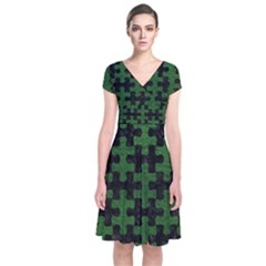 Puzzle1 Black Marble & Green Leather Short Sleeve Front Wrap Dress