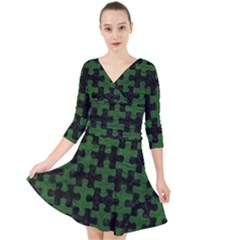 Puzzle1 Black Marble & Green Leather Quarter Sleeve Front Wrap Dress