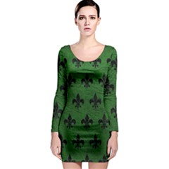 Royal1 Black Marble & Green Leather Long Sleeve Bodycon Dress