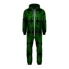 Royal1 Black Marble & Green Leather Hooded Jumpsuit (kids)