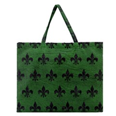 Royal1 Black Marble & Green Leather Zipper Large Tote Bag