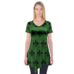 Royal1 Black Marble & Green Leather Short Sleeve Tunic