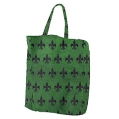 Royal1 Black Marble & Green Leather Giant Grocery Zipper Tote