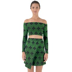 Royal1 Black Marble & Green Leather Off Shoulder Top With Skirt Set
