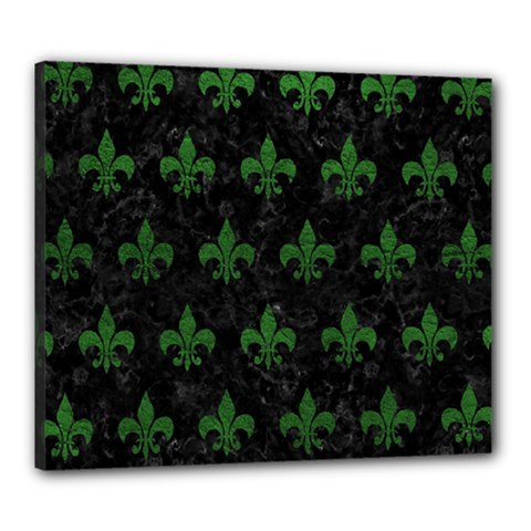Royal1 Black Marble & Green Leather (r) Canvas 24  X 20