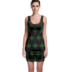 Royal1 Black Marble & Green Leather (r) Bodycon Dress