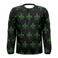 Royal1 Black Marble & Green Leather (r) Men s Long Sleeve Tee