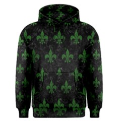 Royal1 Black Marble & Green Leather (r) Men s Pullover Hoodie