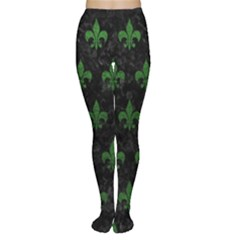 Royal1 Black Marble & Green Leather (r) Women s Tights