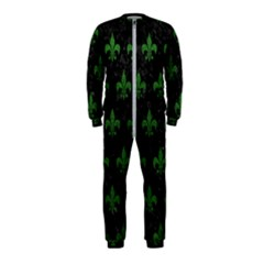 Royal1 Black Marble & Green Leather (r) Onepiece Jumpsuit (kids)