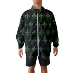 Royal1 Black Marble & Green Leather (r) Wind Breaker (kids)